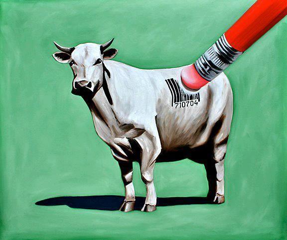 ¡Derechos Animales ya! Vaca con código de barras, los animales no debiéramos ser objetos