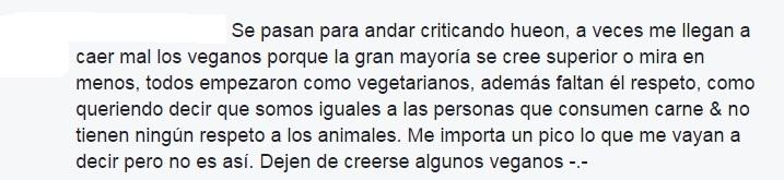 Ejemplo de vegetariana con sus reaccionismos típicos y juicios de valor 1