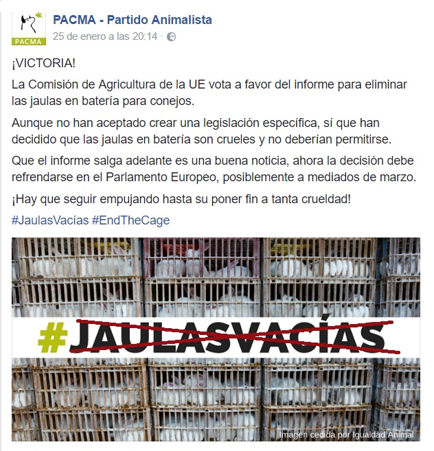 Propaganda partido PACMA respecto a las jaulas vacías de los conejos